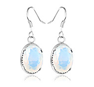 Artistic Friend Gift Oval Fire Rainbow Moonstone Gem 925 Silver Drop Earrings For Wedding Party Daily Holiday 1Pairs