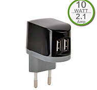 CE certifié double chargeur usb mur, prise Europe, la production de 2.1a 5v, pour l'iphone 5 iphone 6 / plus, l'air ipad, ipad mini, ipad4