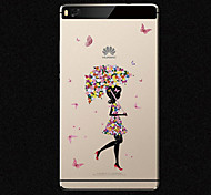 New Fashion 3D Beauty Flower Colorful Totem Tpu Cartoon Soft Case for Huawei P8