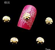 014 DIY 10pcs/lot Nail Metal Alloy Pearls Beads 3D Golden Nail Sticker Rhinestones Nail Art Nail Tools Decoration