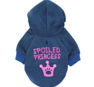 Cat / Dog Coat / Hoodie Blue Dog Clothes Winter Letter & Number / Tiaras & Crowns Cosplay