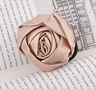 Pure Color Elegant Bow Roses Fabric Hair Tie