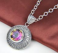 fuoco rotondo antico arcobaleno mistico topazio gioiello 925 ciondoli in argento per collane per la festa nuziale quotidiano 1pc casuale