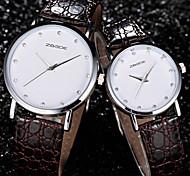 couple avec tour de strass plaque blanche imperméable pu quartz cuir Montre mouvement