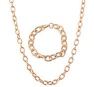 Men Women 11MM Wide European Style Fashion 18K Gold Stainless Steel Strands Necklaces Bracelets Jewelry Sets