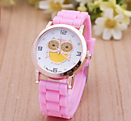 Women's Watches Casual Female Cartoon Owl Pattern Silicone Belt Quartz Watch Cool Watches Unique Watches