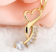Women's 18K Gold Plated  Rhinestones Heart Shaped  Crystal Necklaces