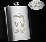Personalized Gift 8oz Lovers Design Stainless Steel Flask