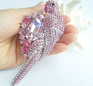 Women Accessories Silver-tone Pink Rhinestone Crystal Parrot Brooch Art Deco Women Jewelry