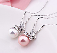 """Elegant Natural Shell Beads Butterfly 925 Sterling Silver Pendant Clavicle Necklace (18""""/1PC)"""