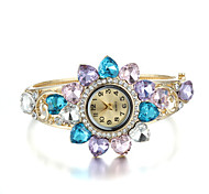 Sjewelry Lady Colorful Crystal Watch 24K Gold Plating Bracelet