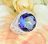 regalo de la familia del arco iris de fuego ronda topacio místico joya de plata 925 anillos de flores declaración de fiesta de la boda