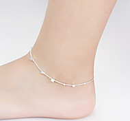 Hot Sell Summer Fashion Simple 925 Silver Plated Copper Box-Shaped Anklet