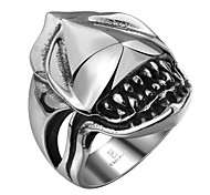 316L Men's Punk Stainless Steel Gothic Shark Pattern Cool Ring Hot Party For Boyfriend Fashion Jewelry