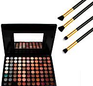 88 cores cosméticos paleta da sombra neutra + 4pcs escova lápis de maquiagem