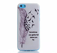 Feather Pattern TPU Phone Case For iPhone 5C
