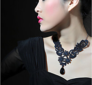 Phoenix Paragraph Lace Pattern Black Stones Drop Collarbone Chain Pendant Necklace