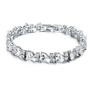 Women's Fashion Heart Crystal Rhinestone Hand Chain Ring Bracelet