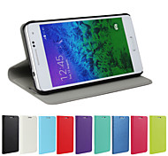 For Samsung Galaxy Case with Stand / Flip Case Full Body Case Solid Color PU Leather Samsung Alpha