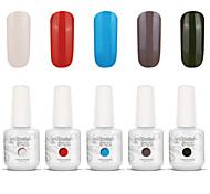 nail art gelpolish impregna fuori uv gel del chiodo del gel di colore smalto kit manicure 5 colori set S122