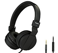 Lightweight Folding 3.5mm Stereo Over-ear Headphones Portable Stretch Headsets Leather Earpad with Build-in Microphone
