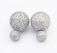 New Arrived For 2015 Double Side Ball Pearl Earrings For Women 5 Colors Resin Stud Earrings