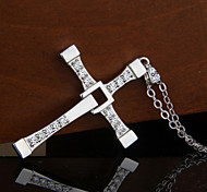 Women's 925 Sterling Silver Zircon Crucifix Pendant Necklace (18'',silver)