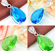 Dazzling Fire Drop Green Quartz Sky Blue Topaz Gem 925 Silver Pendants for Necklaces For Wedding Party Daily 1pc