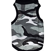 Cat / Dog Shirt / T-Shirt Gray Dog Clothes Summer Camouflage Cosplay