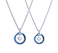 New Design Fashion Stainless Steel Silver Heart Blue Circle Lovers Pendants Necklaces 60cm One Pair