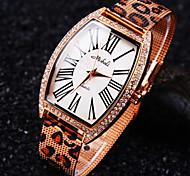 ladies 'um grau Checa diamante padrão de leopardo mineral mostrador redondo espelho de vidro de aço inoxidável relógio banda moda quartzo