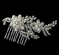 Charming Wedding Party Bride Flower Austria Crystal Pearls Handmake Silver Combs Hair Accessories