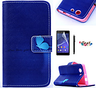 KARZEA™Blue Butterfly Pattern PU Leather Case with Screen Protector and Stylus and Dust Plug for Sony Xperia Z3mini