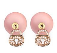 Fashion Jewelry Big Flower Shaped Zircon Crystal Pearl Earring Double Sided Pearl Earring Cheap Pearl Earring For Women