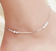 Vilam® Hot Girl Ankle Bracelet Bead Chain Elegant Silver Matt Beads Beach Imitation Pearl Anklet Foot Jewelry