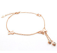 Fashion Rose Gold CZ Diamond Inlaid Butterfly Hollow Titanium Steel Anklet