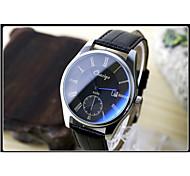 Couple's Circular Quartz Calendar Dial Fashion Belt Wrist Watch
