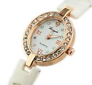 Women's Diamante Ellipse Dial Plastic Band Quartz Analog Wrist Bracelet Watch