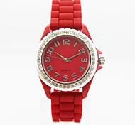 Women's Analog Plastic Case Round Dial Silicone Band Stone Quartz Watch Women Fashion Watch Gift Watch Ladies Watch