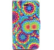 Painted Disc Pattern PU Leather Full Body Case with Card Slot and Stand for iPhone 4/4S