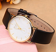 Lady's Fashion Geneva Watch Simple Dial PU Band