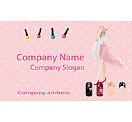 Business Cards 200pcs Pink Manicure Pattern 2 Sided Printing of Film Art Filmed Paper