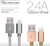 fonemax® mfi gecertificeerde 8-pin usb sync data / opladen geweven stof-kabel voor de iPhone 5 / 5s / 6/6 plus / iPad / iPod (120cm)