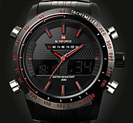 Hot Fashion Full Steel Men's Analog Digital LED Backlight Watch Sports Military Wrist Watch(Assorted Colors)
