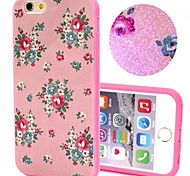 2-in-1 Bling Bling Pink Flowers Pattern PC Back Cover with PC Bumper Shockproof Hard Case for Apple iPhone 6 Plus