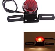 motocicleta llevado licencia cola luz trasera placa redonda lente roja dc 12v universales (1 unidad)
