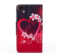 PU Painted Flower Wallet Mobile Phone Case for Huawei P8