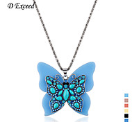 D exceed  Fashion Sliver Plated Colorful Resin Acrylic Beads Butterfly Pendant Necklaces Jewelry for Girl 1 Piece