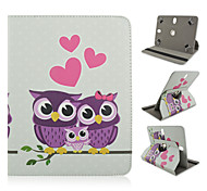 Care Owl Pattern 360 Degree Rotation High Quality PU Leather with Stand Case for 10 Inch Universal Tablet
