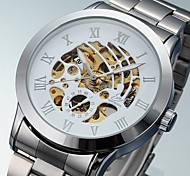 Men's Auto-Mechanical Fashion Hollow Dial Stainless Steel Band Wrist Watch